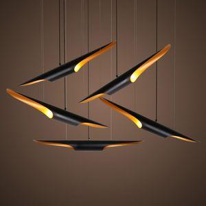 Delightfull Coltrane moderno loft lámpara colgante LED luz oro accesorio de aluminio ala negro luz de la lámpara colgante tubo colgante