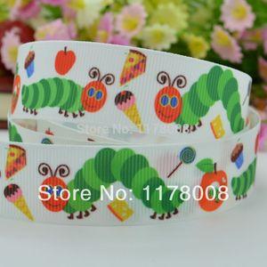 Duwes 7 8'' 22mm Very Hungry Caterpillar Printed Grosgrain Ribbon ,Hairbow Diy Handmade Clothing 50yards Children Headwear