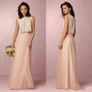 2020 Vintage Blush Pink Two Pieces Lace bridesmaid dresses Tulle Floor Length robes de demoiselle d'honneur Wedding Party Bridesmaid Dresses