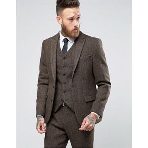 2018 New Custom Made Tweed Anzüge Männer Formale Dünne Hochzeit Smoking Sanfte Moderne Blazer 3 Stück Männer Anzüge (Jacke + Pants + Weste)