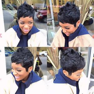 Parrucca per Nero Women100% umana Capelli corti Pixie Parrucche brasiliana Nessuno pizzo Frangia Capelli corti parrucche per afro americano Parrucche