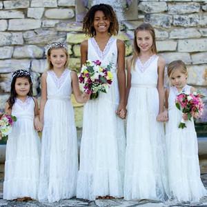 Romantique Pays Style Boho Dentelle Fleur Filles Robes Blanc V Col Gaine Créateur Pour Les Mariages Juniors Demoiselles D'honneur Pas Cher Long