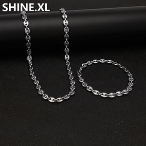 Нержавеющая сталь 316L Coffee Bean цепи 22 «ожерелье и 8» Браслеты Мода хип-хоп комплект ювелирных изделий Gold Chain для мужчин
