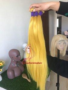 Virgin Brazilian Hair 3 Bundles Yellow Human Hair Straight Extensiones de cabello de color amarillo