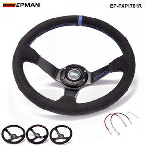 EPMAN -NEW Auto 350mm Deep Dish Drift Racing Lenkrad Wildleder mit Hupenknopf EP-FXP1701R