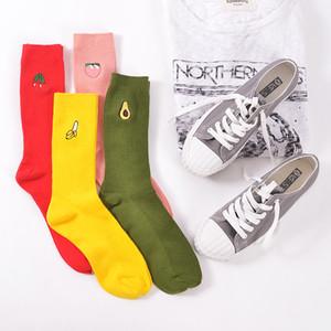 4 Paare / los Neue Art Koreanische Stickerei frauen Kawaii Obst Socken Pfirsiche Avocado Kirsche Banane Lose Socken Retro Linie Nette Socke