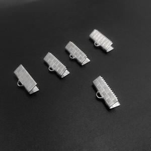 10/13/15/20 / 25mm Metallo Creazione di gioielli End Crimp Fine del cavo a nastro Catenacci Tono argento Risultati dei monili Componenti Accessori
