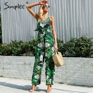 vente en gros Ruffle Leaf impression sexy combinaison Boho vert barboteuses femme combinaison 2018 Élégante combinaison en mousseline de soie été