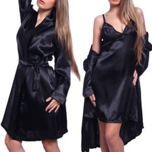 2016 neue Sexy Satin Slip spitze zurück Nighty Babydoll Nachtwäsche w / Night Robe Kleid GL