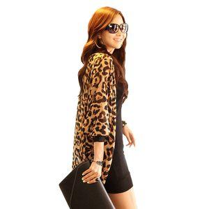 Sexy Leopard Kimono Cardigan Women Fashion Ladies Chiffon Shirt Leopard Print Tops Long Loose Batwing Long Sleeve Blouse 2018
