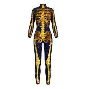 النساء بذلة هالوين الذهب الهيكل العظمي الأسود مخيف تأثيري حلي رائعة طويلة الأكمام حزب بذلة ارتداءها المخرج