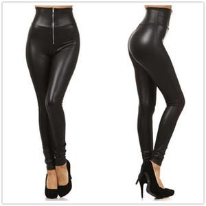 Высокая талия PU кожаные леггинсы женщины передняя молния сексуальные тонкие карандаш леггинги мода панк брюки