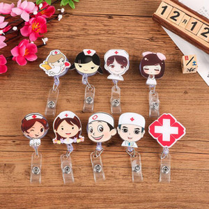 Carino retrattile badge bobina cartoon infermiera studente fieristico ID Nome scheda Badge Supporto per ufficio forniture QW7384