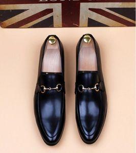 Свадебные платья Обувь HomeComing Мужчины Черный конный бит пряжки дизайнер Мужчины деловая обувь Курительная тапочка US Размер: 6.5-9 # 536