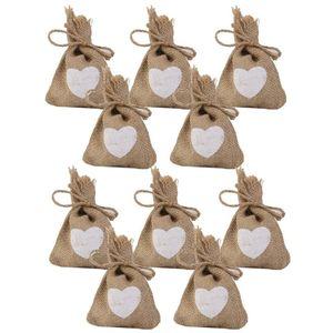 10PCS Stampa Lino Sacco di iuta Sacco con cordino Sacchetti regalo Candy Bags Matrimonio con motivo a cuore