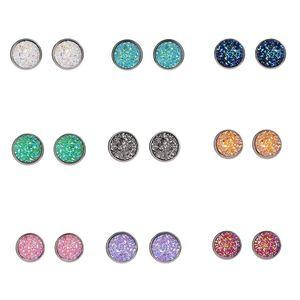 Мода популярные серьги шпильки для женщин горный хрусталь алмаз Звезда круглый посеребренные ювелирные изделия Кристалл шпильки 12 мм Бесплатная доставка