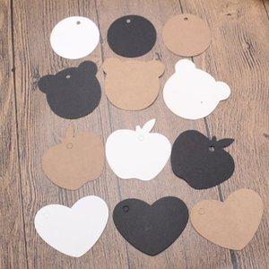 200PCS / lotMulti الشكل براون أبيض أسود كرافت ورقة شنق العلامة للملابس مجوهرات التعبئة والتغليف بطاقة هدية الزفاف حفلة عيد الميلاد الديكور تسمية
