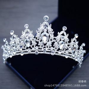 Joyas nupciales Tiara Tocados Corona de cristal blanco Novia Princesa Corona Tocado para el vestido de novia 2018 Accesorios nupciales de la boda