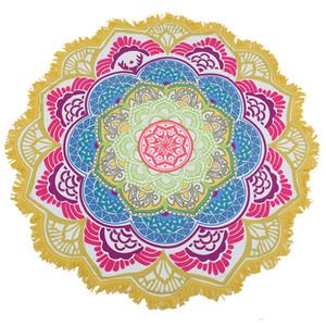 Drop Shipping Tassel Indian Mandala Tapestry Totem Lotus Printing Telo mare Yoga Mat Sun block Tondo Bikini Cover-Up Coperta