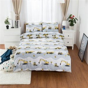 Excavator Traffic Series Pattern Bedding Set Super Soft Kids Duvet Cover Set Quilt Cover and Pillowcase Bed for Chirldren