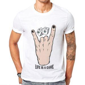 ملابس رجالية Life is a Game Design الرجال تي شيرت الاتجاه س الرقبة 100 ٪ قطن قصير الأكمام وسيم مضحك لفتة عيون رجل تي شيرت