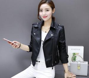 2018 Primavera nuova giacca da moto in pelle corta donna piccola giacca in pelle