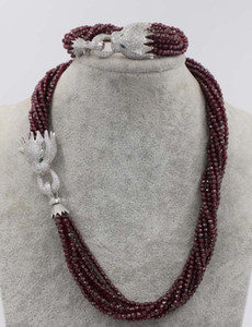 10 colares de granada redonda facetada colar e pulseira gancho de leopardo de 18 polegadas 8 polegadas 3mm facetada rodada incrível presente um conjunto