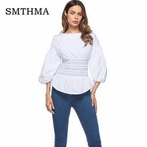 SMTHMA 2018 nouvelle mode manches bouffantes blanc chemisier femme chemise élégantes queues d'aronde des vêtements formels pour bureau dame