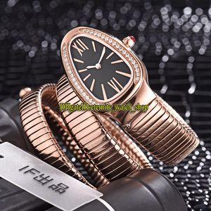 8 colori LuxRy New Serpenti Tubogas 101814 SPP35BGDG.2t Dial Black Dial Swiss Quartz Womens Guarda Diamonds Case Braccialetto Fashion Lady Orologi 02