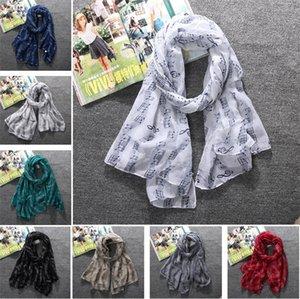 Moda 8 colores alta calidad mujeres voile bufandas feliz música alta calidad impreso bufanda chico chal T5C041