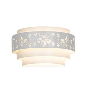 OOVOV Branco Iron Butterfly Flowers Wall Lamp Quarto Girls Room cabeceiras Corredor Varanda Wall Light 25 centímetros E27