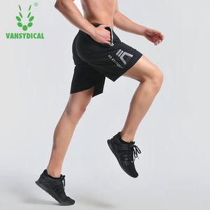 Vansydical Summer Running Sports Shorts para hombre Seco rápido Transpirable Entrenamiento físico Baloncesto Jogging Gym Shorts (bolsillo con cremallera)