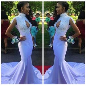 저렴한 판매 2018 높은 목 레이스 Appliques 슬림 댄스 파티 드레스 맞춤형 온라인 레이스 Appiques 골치 아픈 정장 이브닝 파티 가운 African