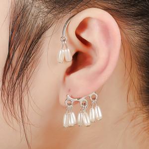 Clip dell'orecchio degli orecchini d'argento placcato Pere goccia d'acqua nappe senza piercing dell'orecchio nuziale perla polsino dell'orecchio per le donne di monili di nozze