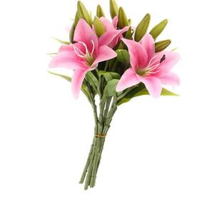 Real Touch Real mariage fleur de lis tactile fleurs artificielles Bouquets de mariage Accueil Décor nuptiale Fleurs décoratives 3 têtes