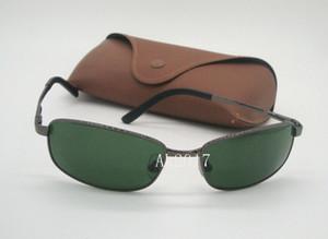 1 Pair de Alta Qualidade Mens Vôo Óculos De Sol Esportes Eyewear Retangular Óculos de Sol Arma de Metal Lentes De Vidro Verde 60mm Com Casos Marrom