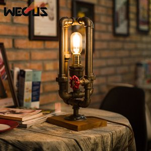 American industrial water pipe style table lamp retro creative decorative table light bedroom living room bar restaurant lamp