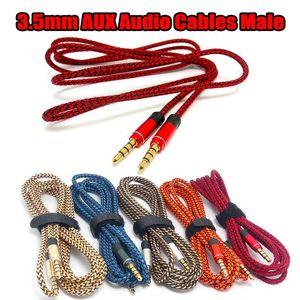 3.5mm Yardımcı AUX Uzatma Ses Kablosu Naylon Tel Mobil MP3 Hoparlör Tablet için Erkek Kablo 1M 1.5M için Tak Erkek Altın kaplamalı