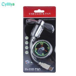 Lâminas de ventilador macio de PVC laptop Gadget Mini ventilador USB Tempo flexível Ventilador de relógio LED com luz LED com pacote de varejo
