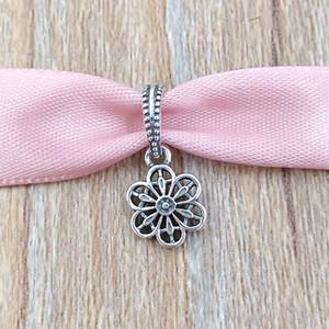 Otantik 925 Gümüş Boncuk Çiçek Papatya Dantel Charms Avrupa Pandora Stil Takı Bilezikler Kolye 791835 uyar