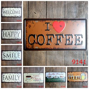 15*30cm Vintage Tin Poster Welcome Happy Smile Iron Paintings Family Cold Beer Coffee Metal Tin Sign Bar Cafe Decor craft FFA1294