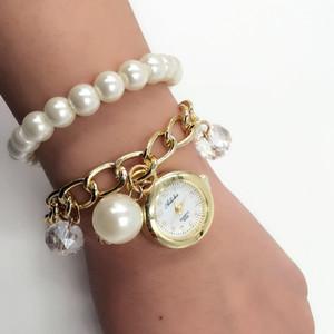 Women Pearl Rhinestone Bracelet Wrist Watch (Color: Multicolored)