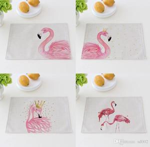 Tapete de disco Originalidade Flamingo Espessamento Tecido De Linho De Algodão Arte Food Talheres Pad Anti Coalgas Disco Scald 5 8ct V