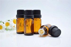 1000pcs / lot uçucu yağlar şişe siyah açılan kapak damlalık euro ile 6/1 Oz 5ml Küçük Amber Cam şişe Şişeleri Konteynerleri