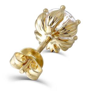 Transgems En Forme De Fleur 14K 585 Or Jaune 2ctw 6.5mm FGH Couleur Moissanite Diamant Boucles D'oreilles Pour Les Femmes À Arrière Pour Les Femmes S923