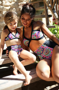 Mode Familie Kind Mädchen Frauen Gedruckt Badebekleidung Bikini Set Zwei Stücke Eltern-Kind-Badeanzug Separates Set Hohe Taille Badebekleidung Badeanzug