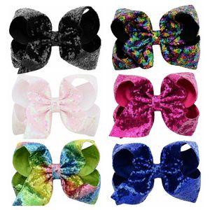 8 inch Jojo Glitter Mermaid Barrettes Sequin Big Bow Hairpin Baby Paillette Barrettes Kids Bling Hair Clip Hair Accessories CCA11821-1 50pcs