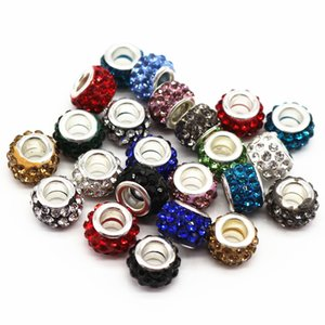 12mm Big Hole Charms Beads With Rhinestone Diy Jewelry Accessories Making Beads Fits Charms Bracelets Necklaces 100pcs Accessories