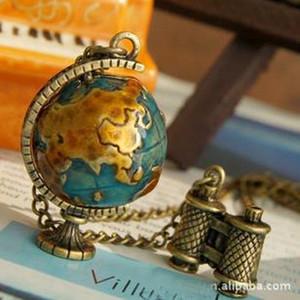 Vintage Bronze Miniatura Globo Globo de Viagem Rotatable Global Colar Pingentes Declaração Gargantilha Colar Para As Mulheres Jóias Acessórios