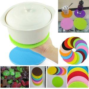Yuvarlak Silikon Kaymaz Isıya Dayanıklı Pot Masa Paspaslar Tutucu Coaster Yastık Placemat Pot Masa Mat Silikon Yer mat 14 * 0.4 cm HH7-390